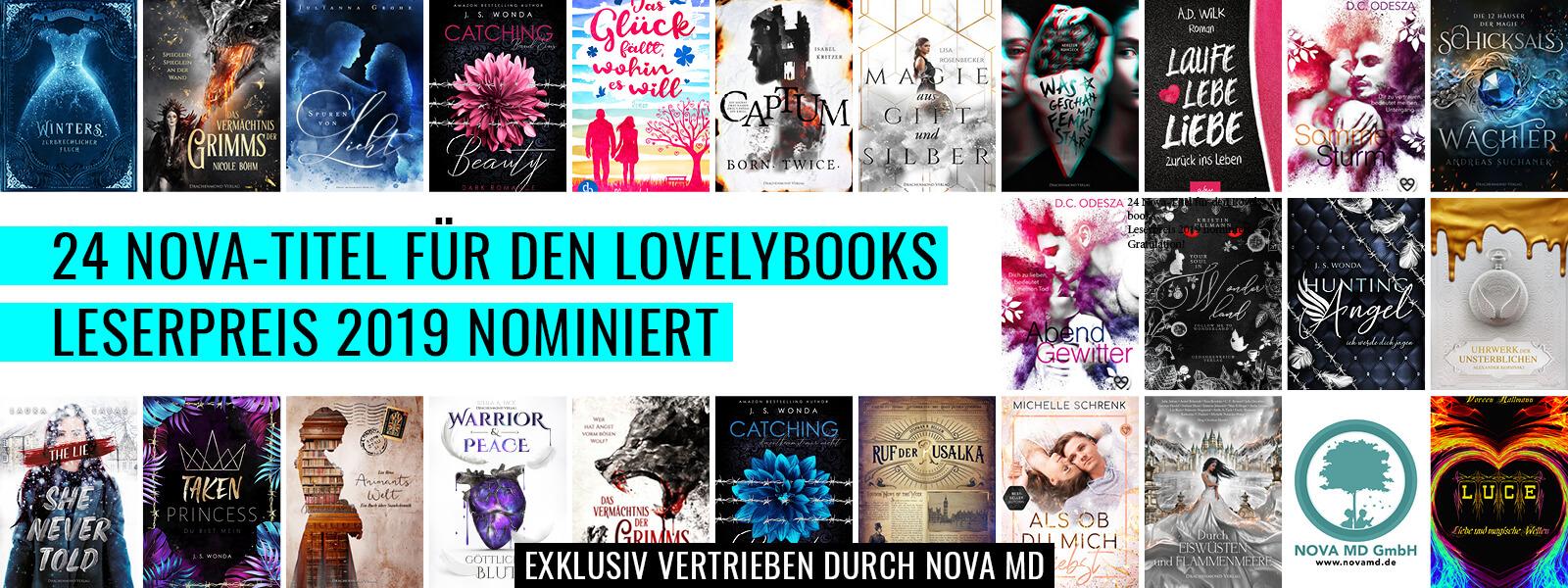 24 Nova-Titel sind für den Lovelybooks Leserpreis 2019 nominiert