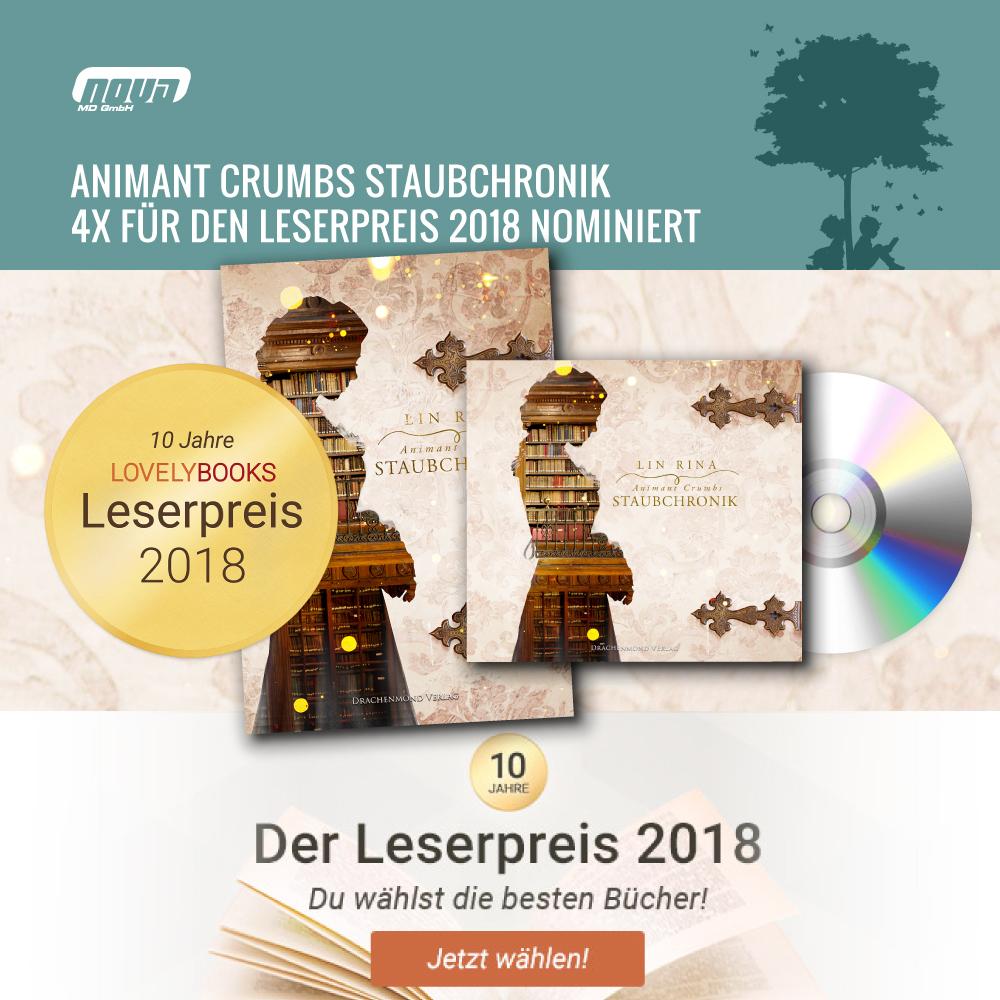 Animant Crumbs Staubchronik 4x für den Leserpreis 2018 nominiert
